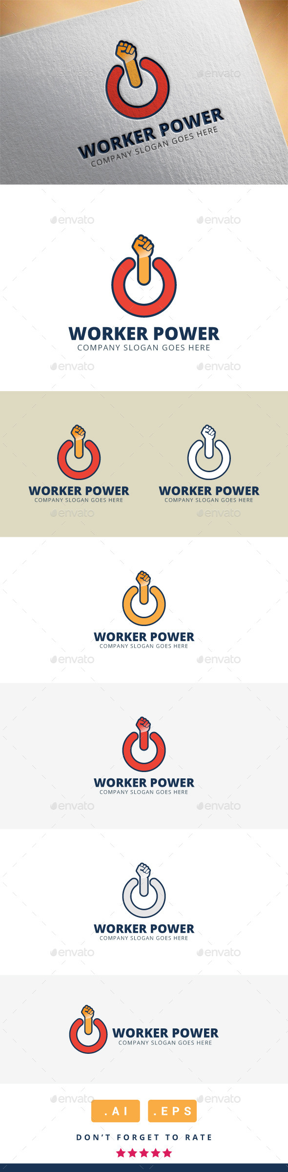 GraphicRiver Worker Power Logo 11340060
