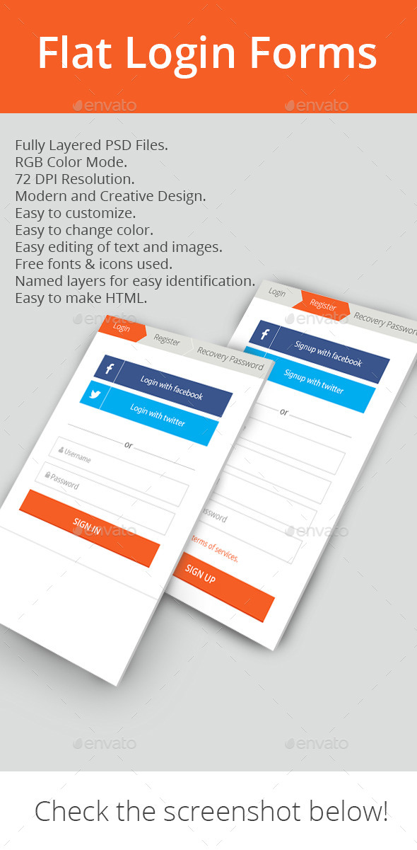 GraphicRiver Flat Login Forms 11340944