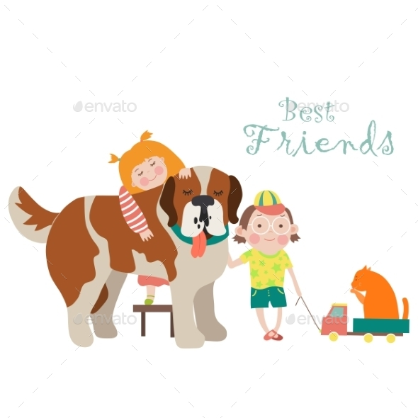 GraphicRiver Happy Little Girl and Boy Hugging Dog 11340996