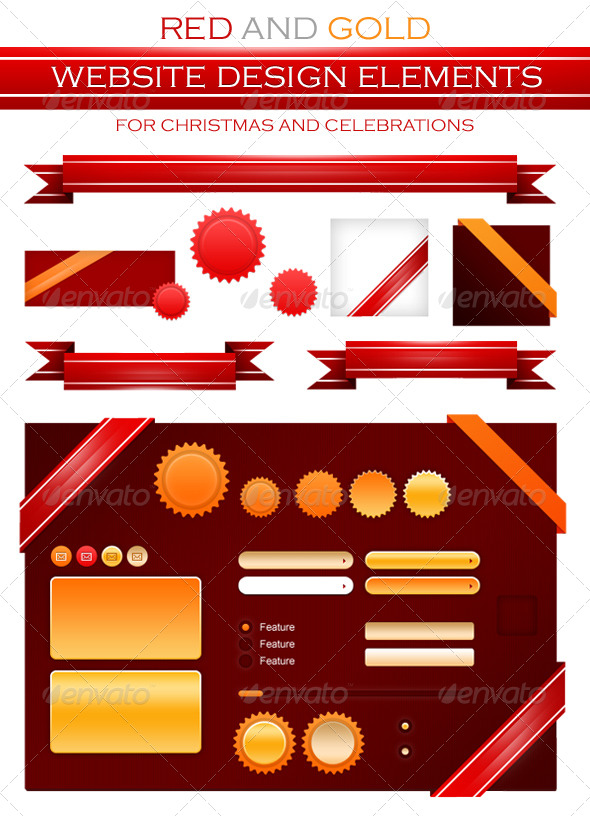 GraphicRiver Red Golden Badges Ribbon and Website Elements 140033