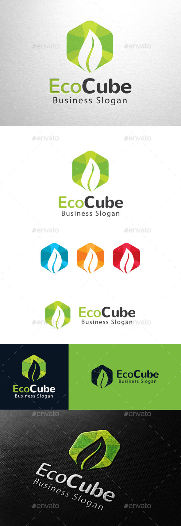 GraphicRiver Eco Cube Leaf Logo 11341341