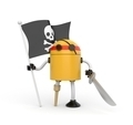 Robot pirate with flag - PhotoDune Item for Sale