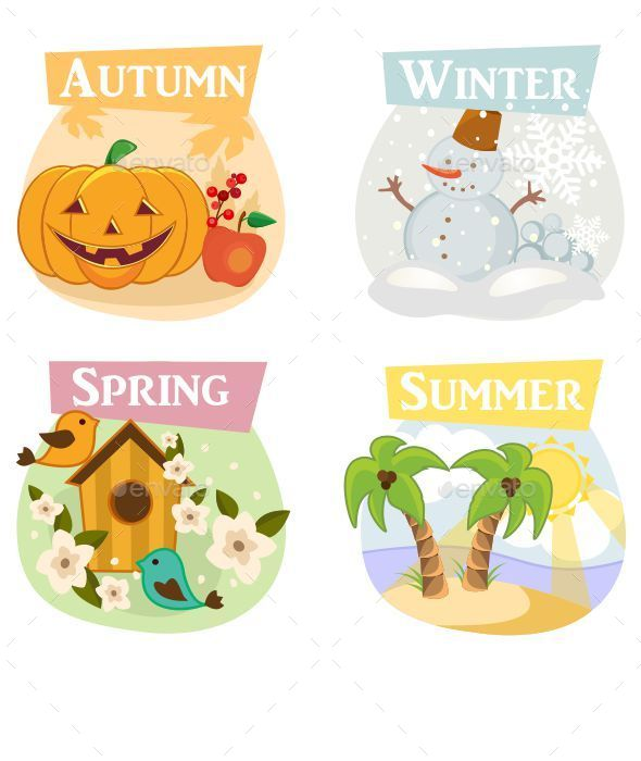 GraphicRiver Four Seasons Illustrations 9955183