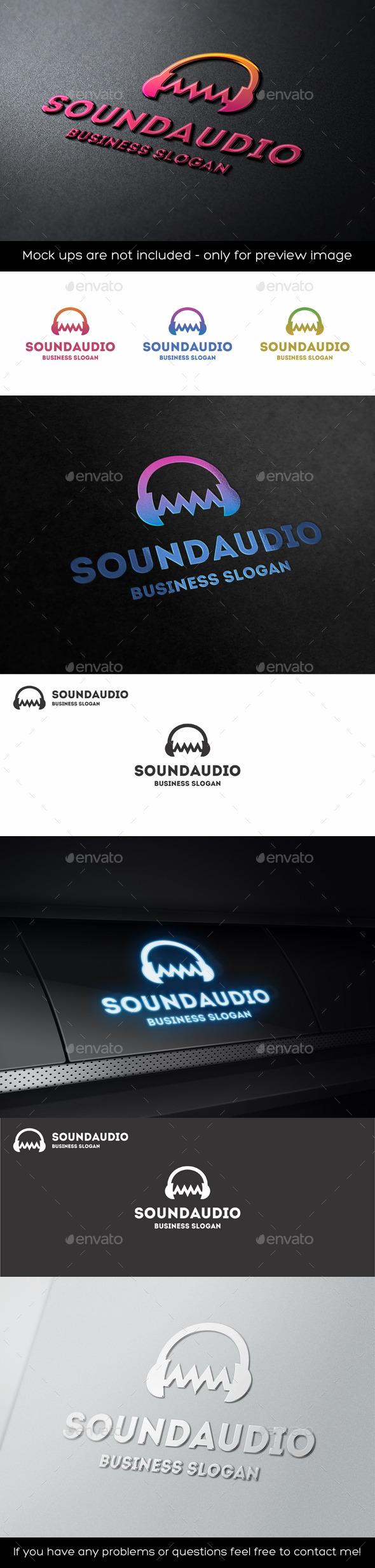 GraphicRiver Audio Wave Sound Headphones Logo 11341501