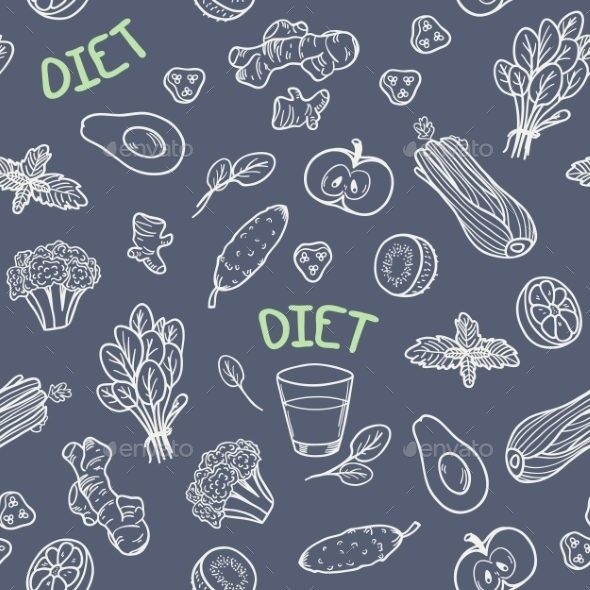 GraphicRiver Chalk Style Vegetables Seamless Pattern 11341536
