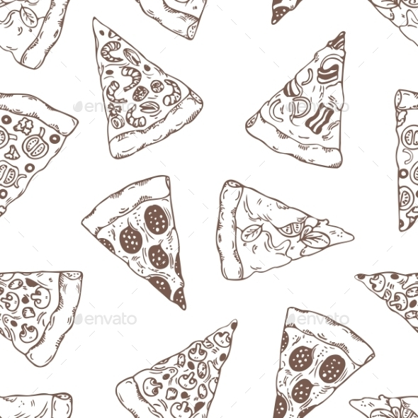 GraphicRiver Hand Drawn Slices of Pizza Pattern 11341607