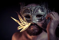 bearded man with silver mask Venetian style. Mystery and renaiss - PhotoDune Item for Sale