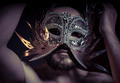 Pose, bearded man with silver mask Venetian style. Mystery and r - PhotoDune Item for Sale