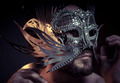 Fear, bearded man with silver mask Venetian style. Mystery and r - PhotoDune Item for Sale