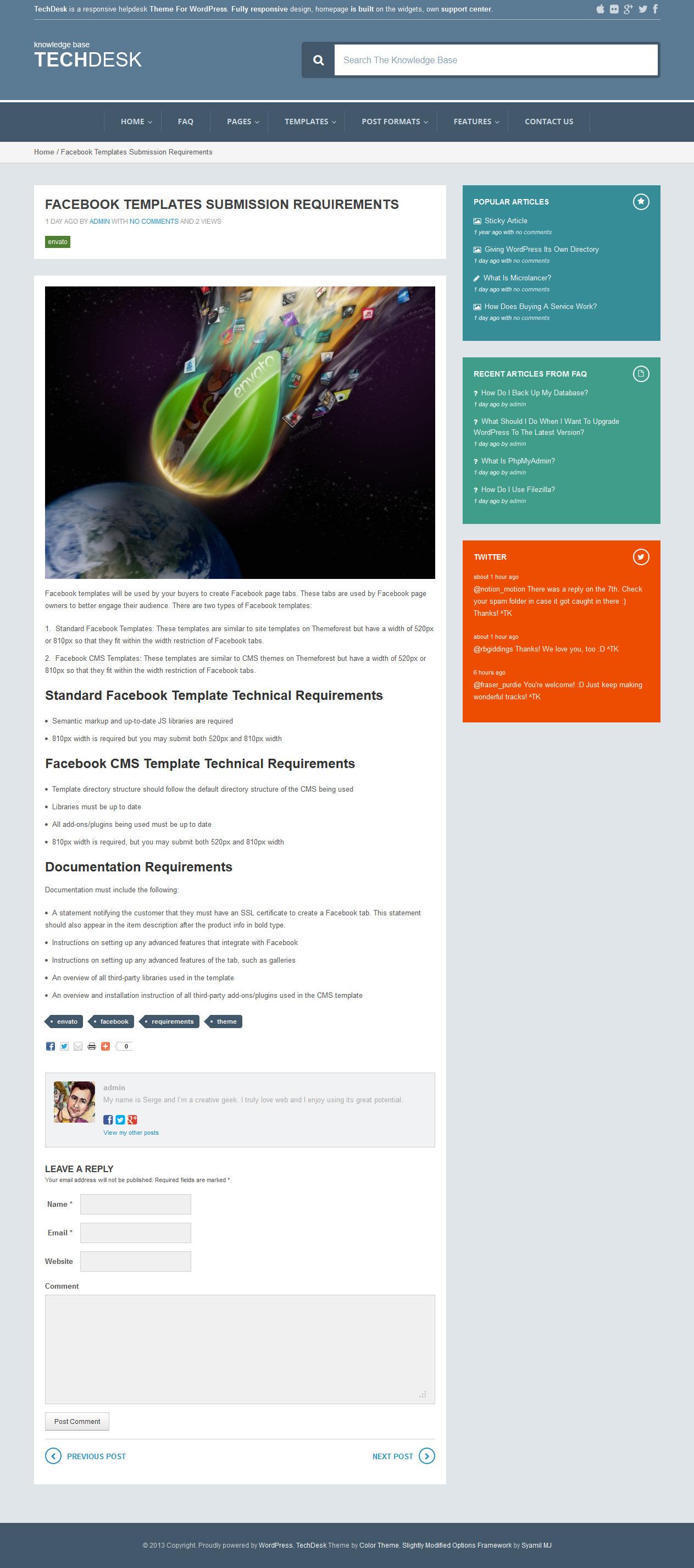 TechDesk - Responsive Knowledge Base/FAQ Theme - Single Post Page