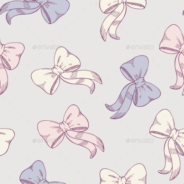 GraphicRiver Seamless Pattern with Sketched Bows 11341655