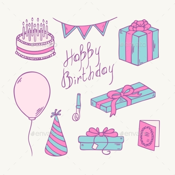 GraphicRiver Doodle Birthday Item Collection 11341661
