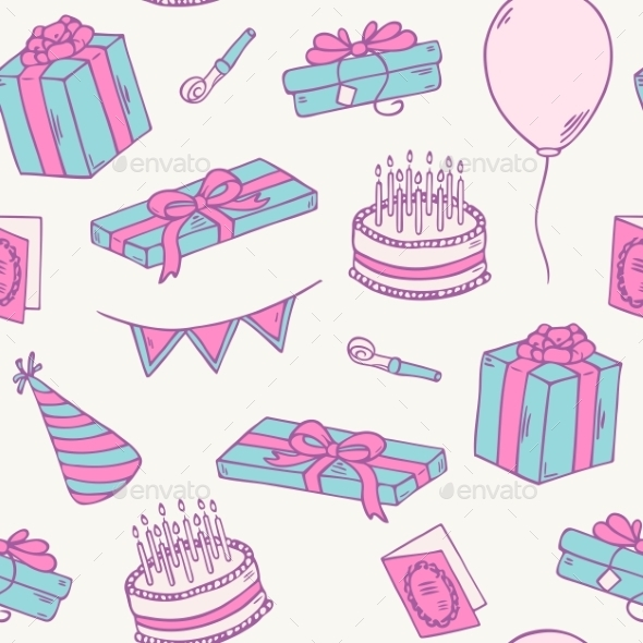 GraphicRiver Hand Drawn Birthday Party Seamless Pattern 11341664
