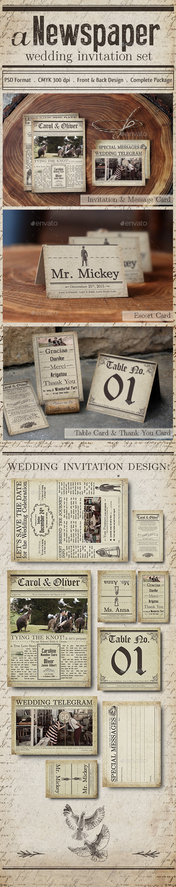 GraphicRiver Newspaper Wedding Invitation 11341666