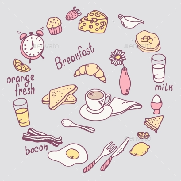 GraphicRiver Hand Drawn Breakfast Item Set 11341673