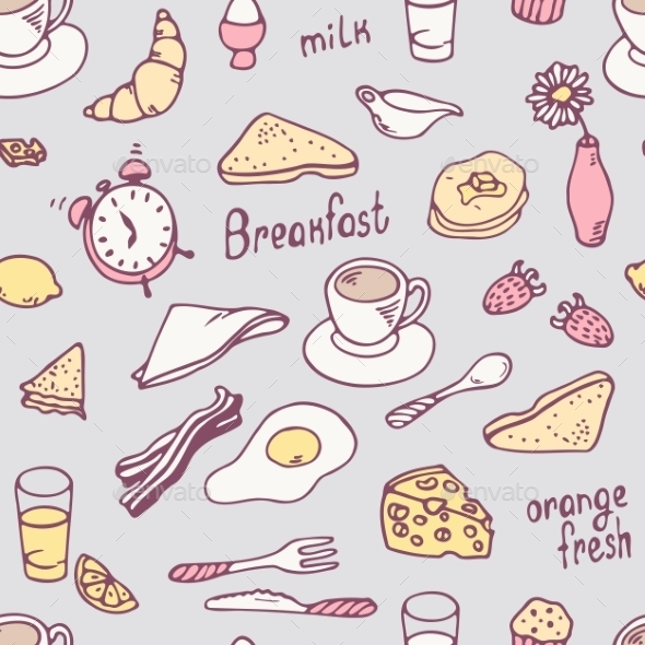 GraphicRiver Hand Drawn Breakfast Seamless Pattern 11341682