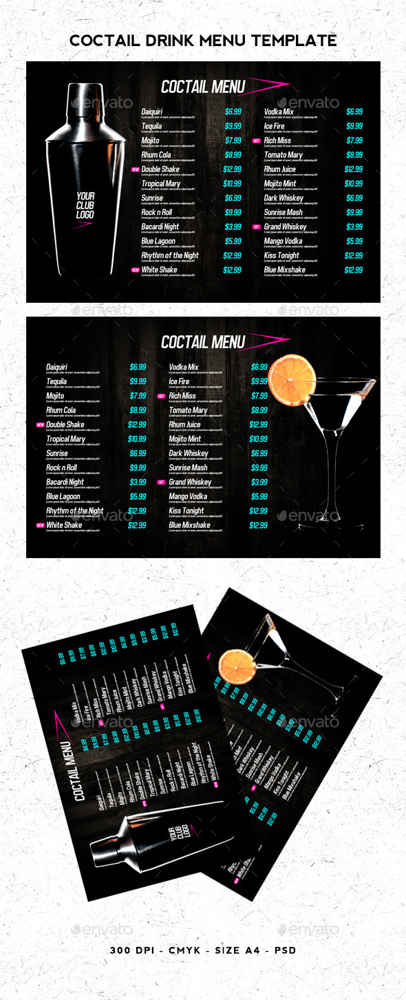 GraphicRiver Coctail Drinks Menu Template 11341683