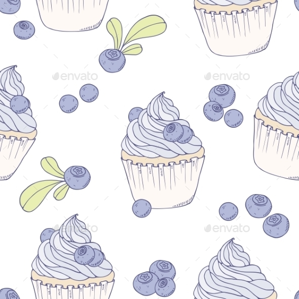 GraphicRiver Hand Drawn Blueberry Cupcake Seamless Pattern 11341697