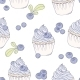 Hand Drawn Blueberry Cupcake Seamless Pattern - GraphicRiver Item for Sale