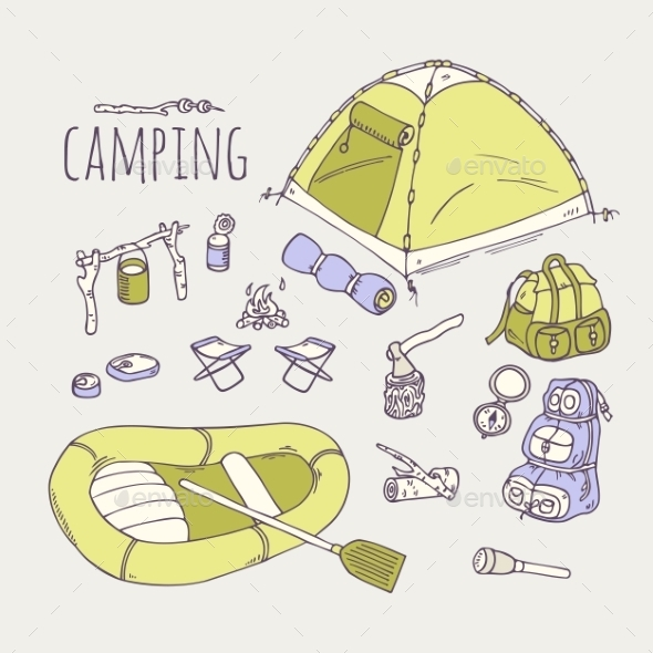GraphicRiver Hand Drawn Camping Items Collection 11341713