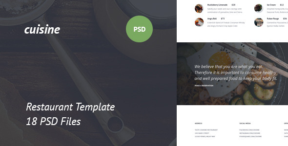 ThemeForest Cuisine Restaurant PSD Template 11145254