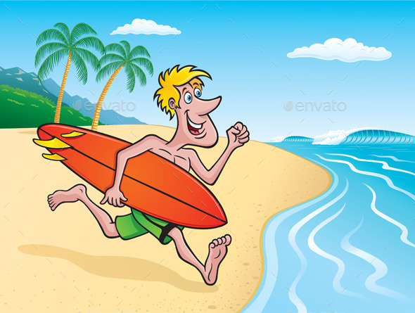 GraphicRiver Surfer Going Surfing on Tropical Island 11342088