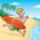 Surfer Going Surfing on Tropical Island - GraphicRiver Item for Sale
