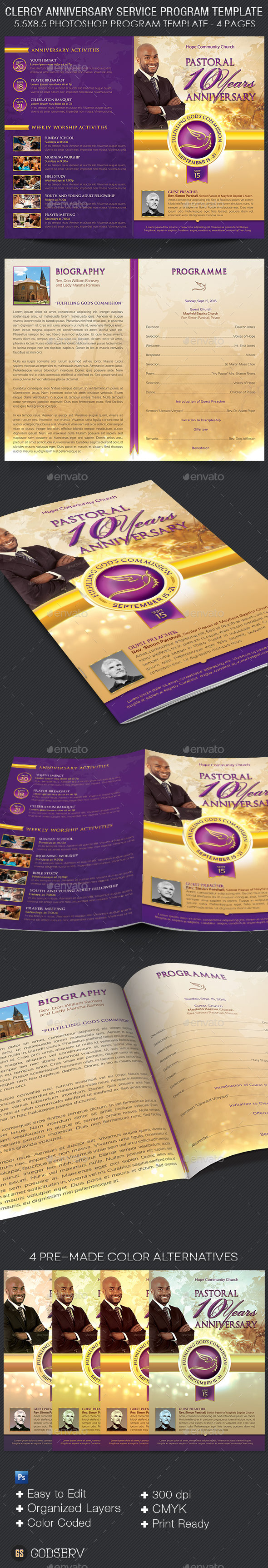 GraphicRiver Clergy Anniversary Service Program Template 11342272
