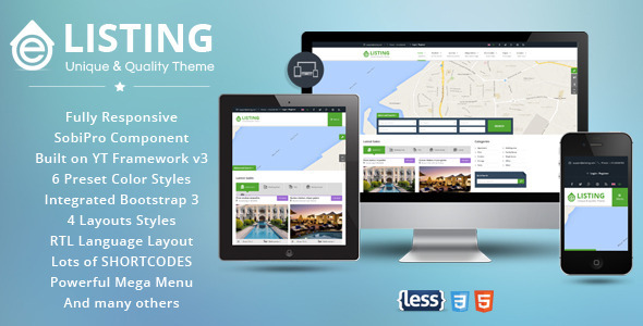ThemeForest eListing Responsive Real Estate Joomla Template 11246969