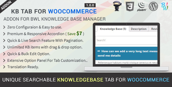 CodeCanyon KB Tab For WooCommerce Knowledge Base Addon 11342283