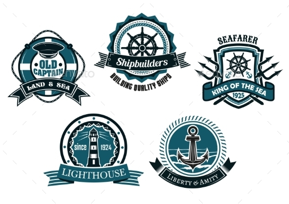 GraphicRiver Nautical Themed Emblems and Badges 11342287