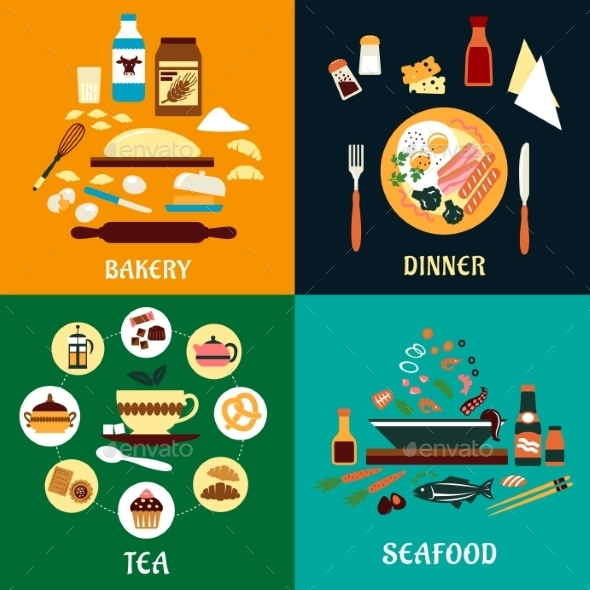 GraphicRiver Set of Flat Food Infographics 11342292