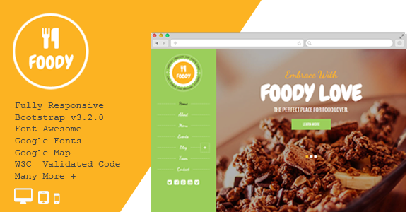 ThemeForest Foody Responsive Restaurant HTML5 Template 11257023