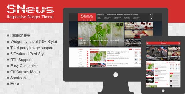 ThemeForest SNews News Magazine Responsive Blogger Theme 11254865
