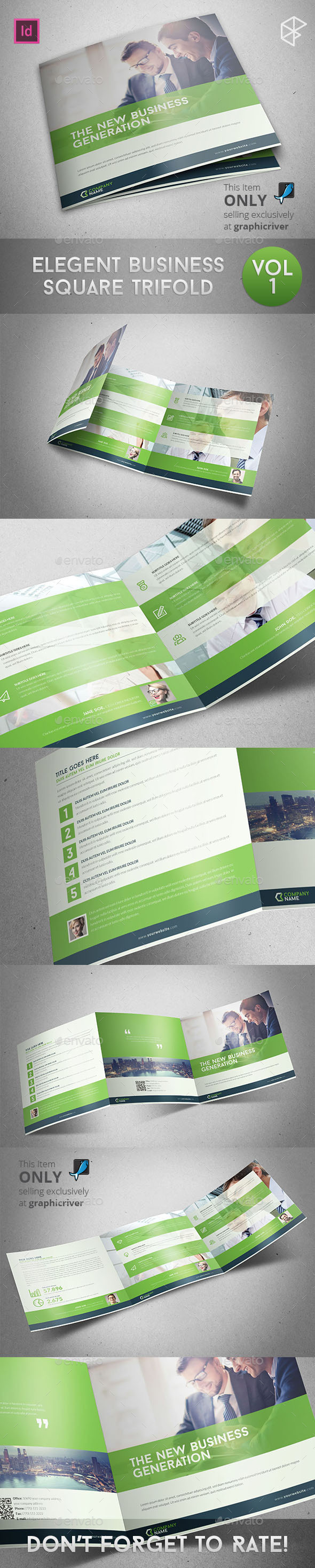 GraphicRiver Elegant Business Square Trifold 11349751