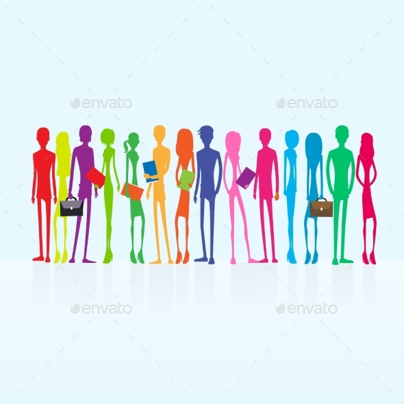 GraphicRiver Group Of Colorful Business People Students 11349984