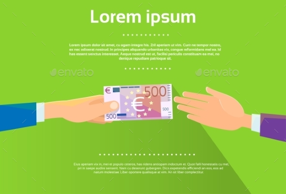 GraphicRiver Hands Give 500 Euro Banknote Businessman Flat 11349986