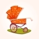 Vector Illustration Of Flat Red Baby Carriage - GraphicRiver Item for Sale