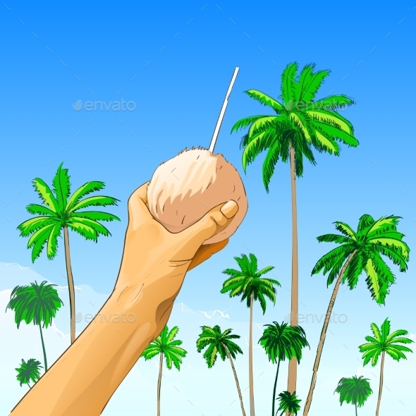 GraphicRiver Tourist Hand Hold Coconut With Straw Over Palm 11350012