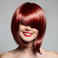 Smiling Beautiful Woman With Red Short Hair. Haircut. Hairstyle.
