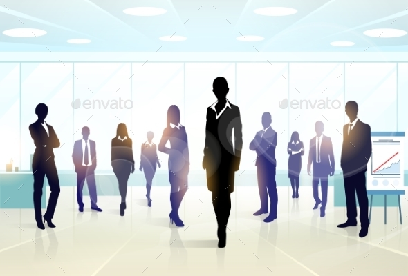 GraphicRiver Business People Group Silhouette Executives Team 11350027