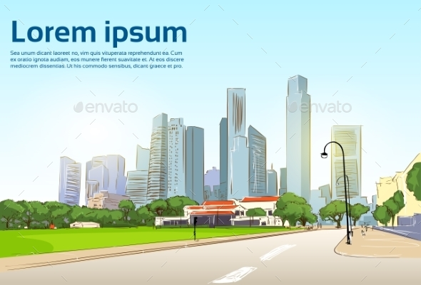 GraphicRiver Road To Modern City View Skyscraper Cityscape 11350208