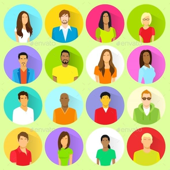 GraphicRiver Profile Set Icon Avatar Mix Race Ethnic 11350270