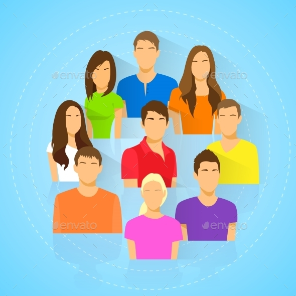 GraphicRiver Diverse Group Of People Icon Avatar Man And Woman 11350277
