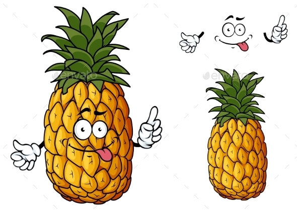 GraphicRiver Cartoon Pineapple Fruit Waving a Hand 11350285