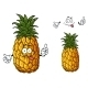Cartoon Pineapple Fruit Waving a Hand - GraphicRiver Item for Sale