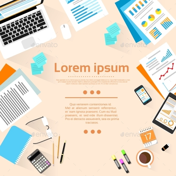 GraphicRiver Workplace Wooden Desk Top Angle View With Copy 11350296