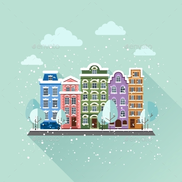 GraphicRiver Old Town In Winter 11350315
