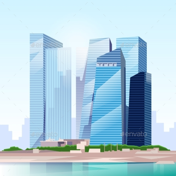 GraphicRiver City Skyscraper View Cityscape Skyline Vector 11350317
