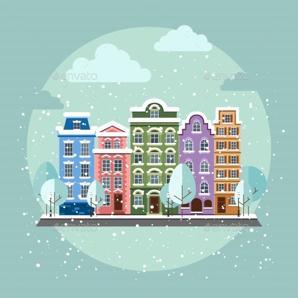 GraphicRiver Old Town In Winter 11350318